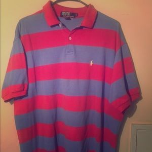 Pink and Blue striped polo shirt